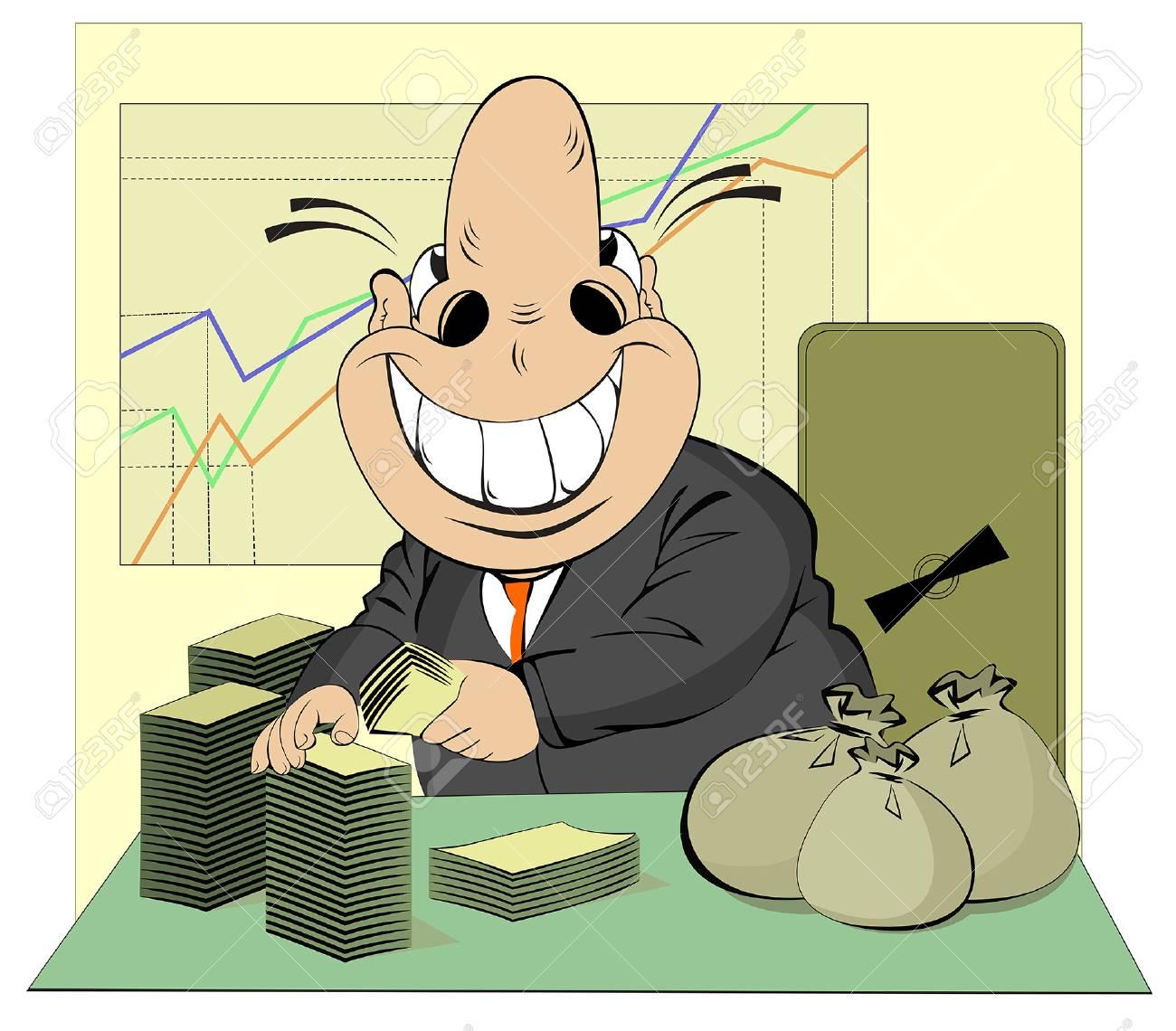 Lucky businessman counts money Stock Vector - 23036180