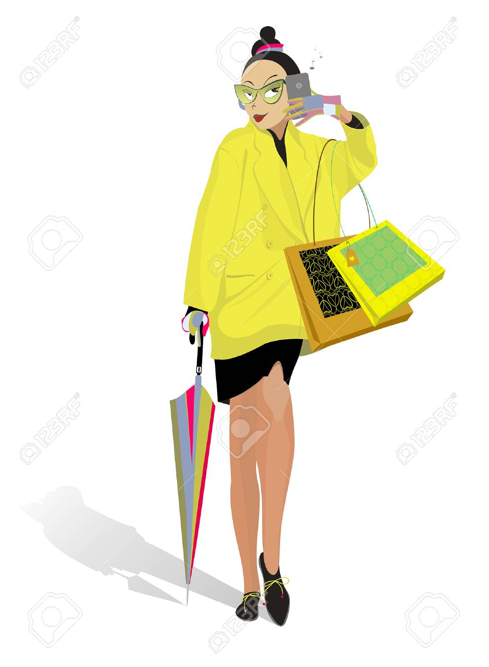 A women with smartphone, bags and umbrella goes shopping Stock Vector - 25253083