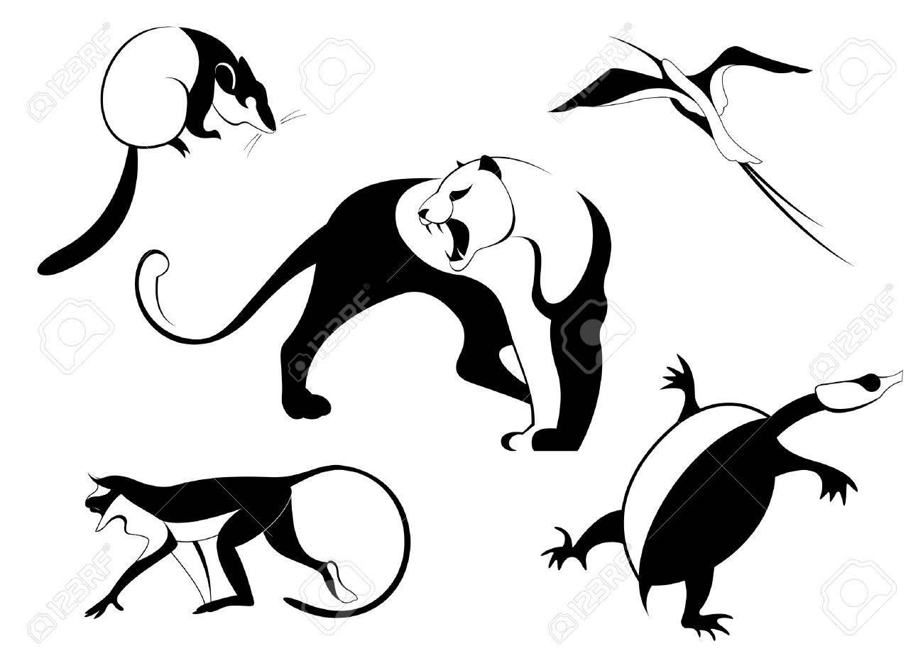設計のための装飾動物のシルエット イラスト集 ロイヤリティフリー