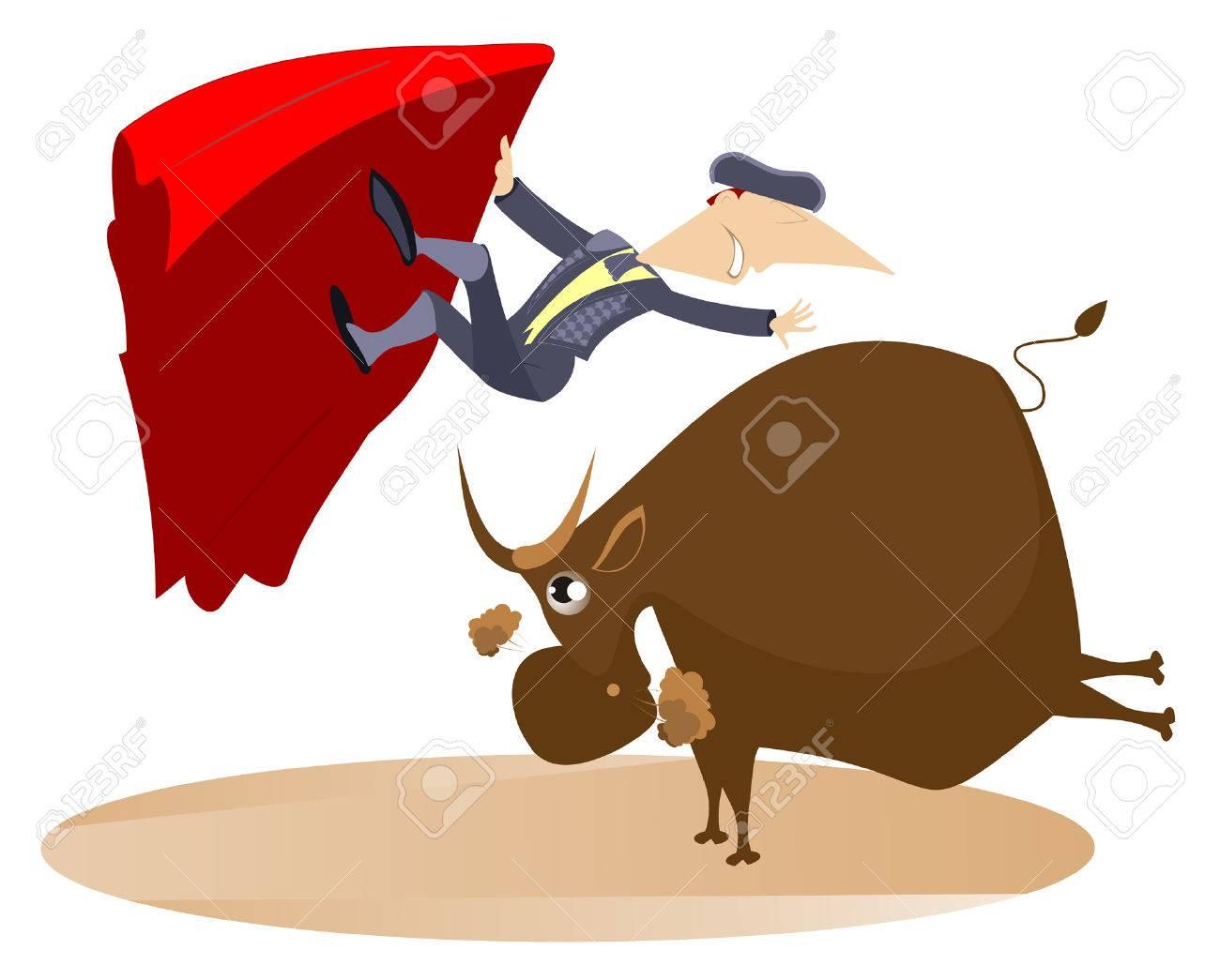 Bullfight. Bull raised the bullfighter by horns - 52533487