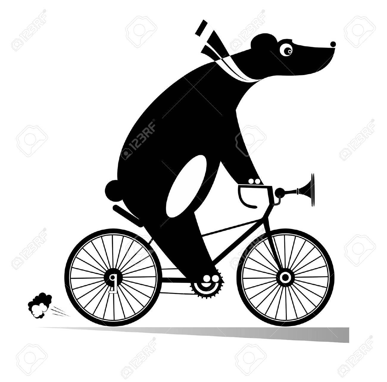 Funny bear rides a bike illustration. Cartoon bear rides a bicycle black on white illustration - 129733579