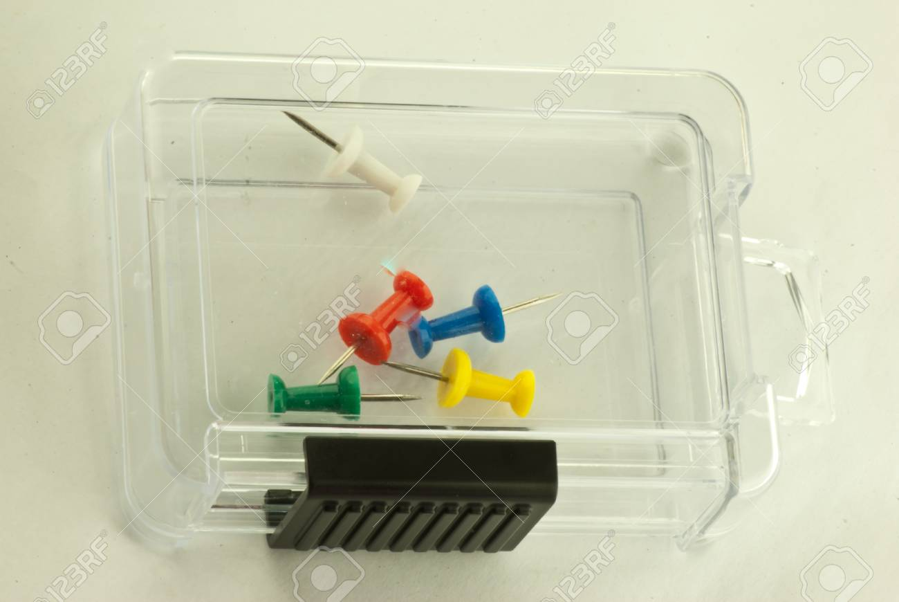 The last five pins in thier box Stock Photo - 17160575