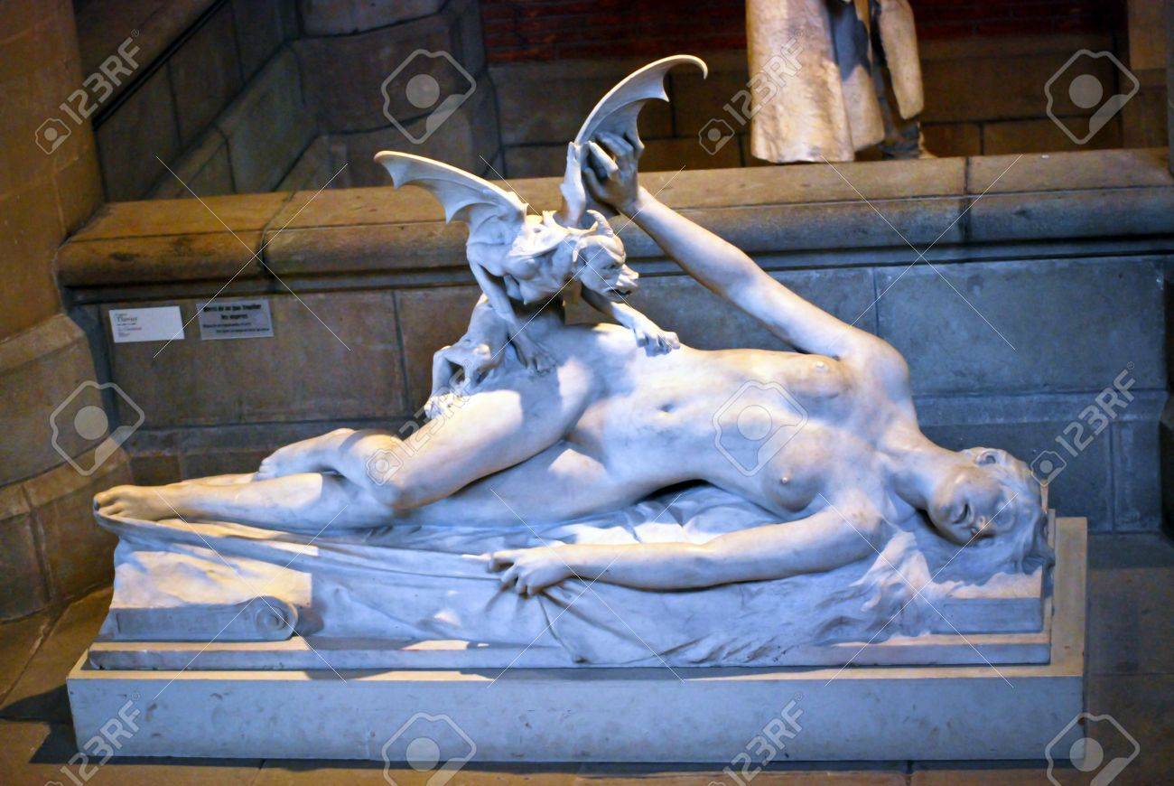 A marble statue of woman was eaten by monster Stock Photo - 17402653