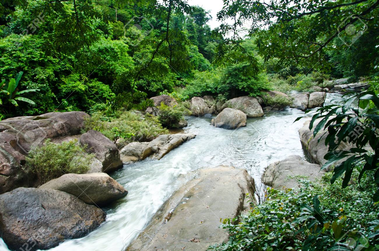 tropical waterfall in Thailand Stock Photo - 14730800