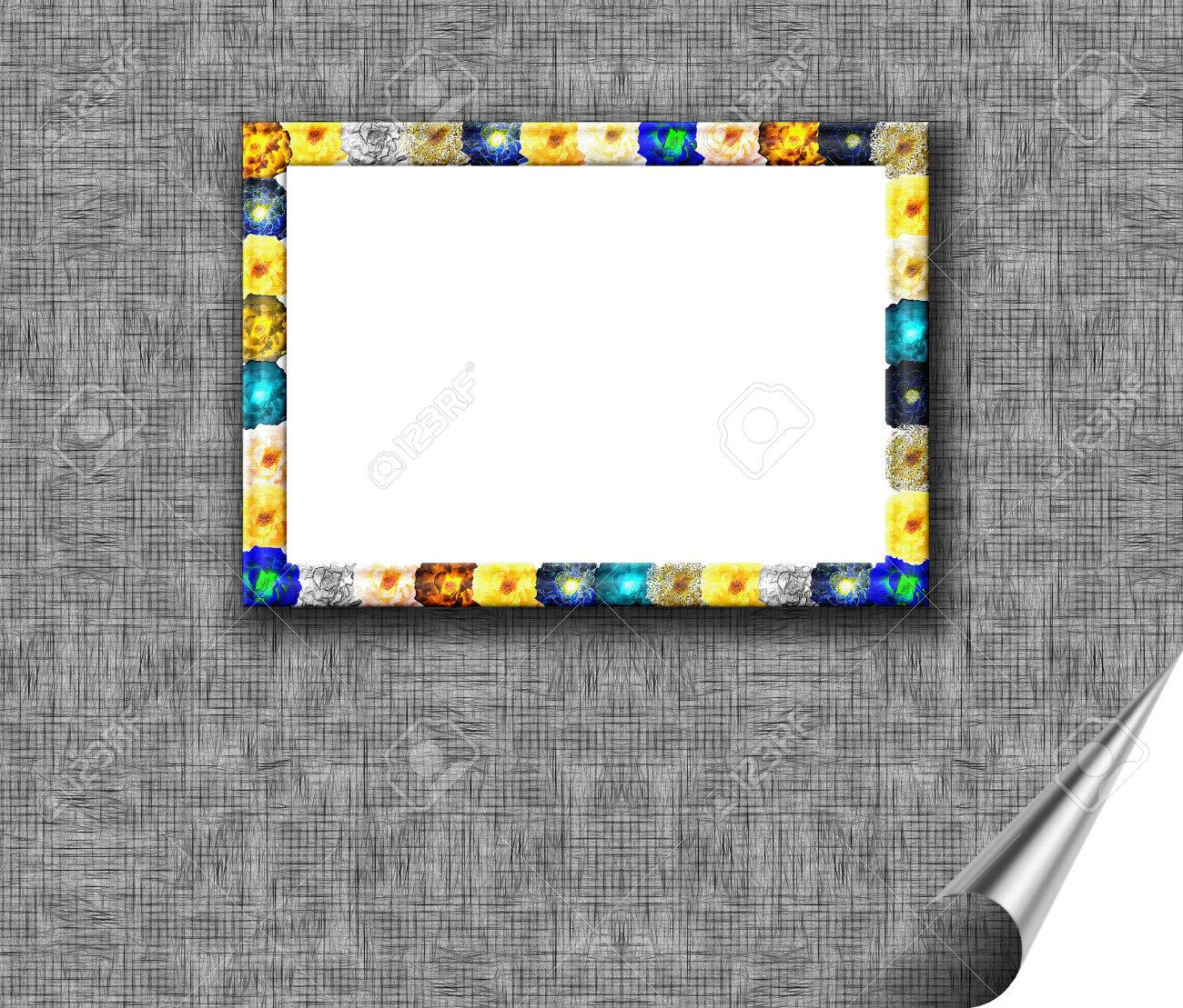 The rectangular frame is embossed with the texture of the images