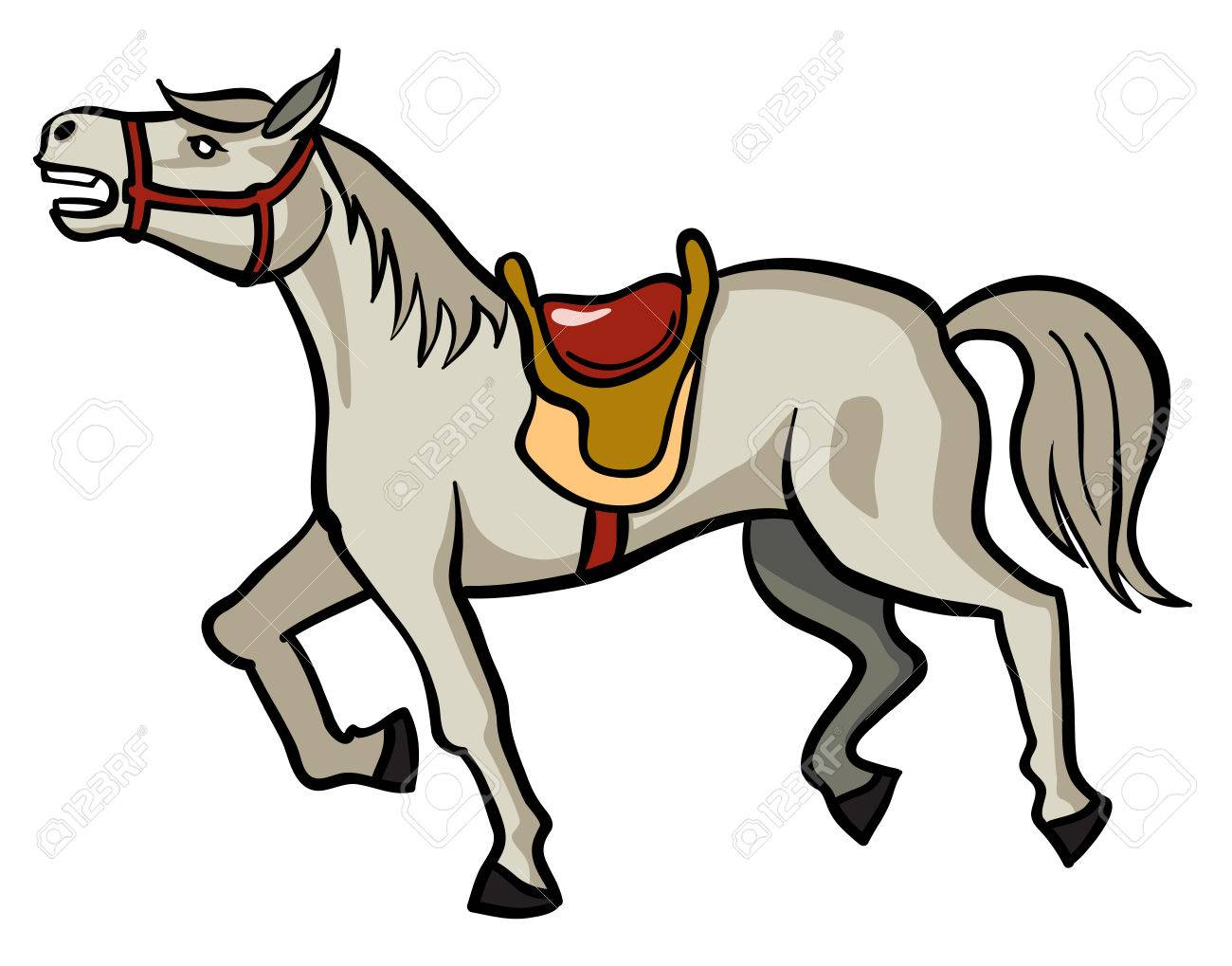 gray horse with saddle vector image royalty free cliparts vectors rh 123rf com Horse Shoe Clip Art Horse Shoe Clip Art