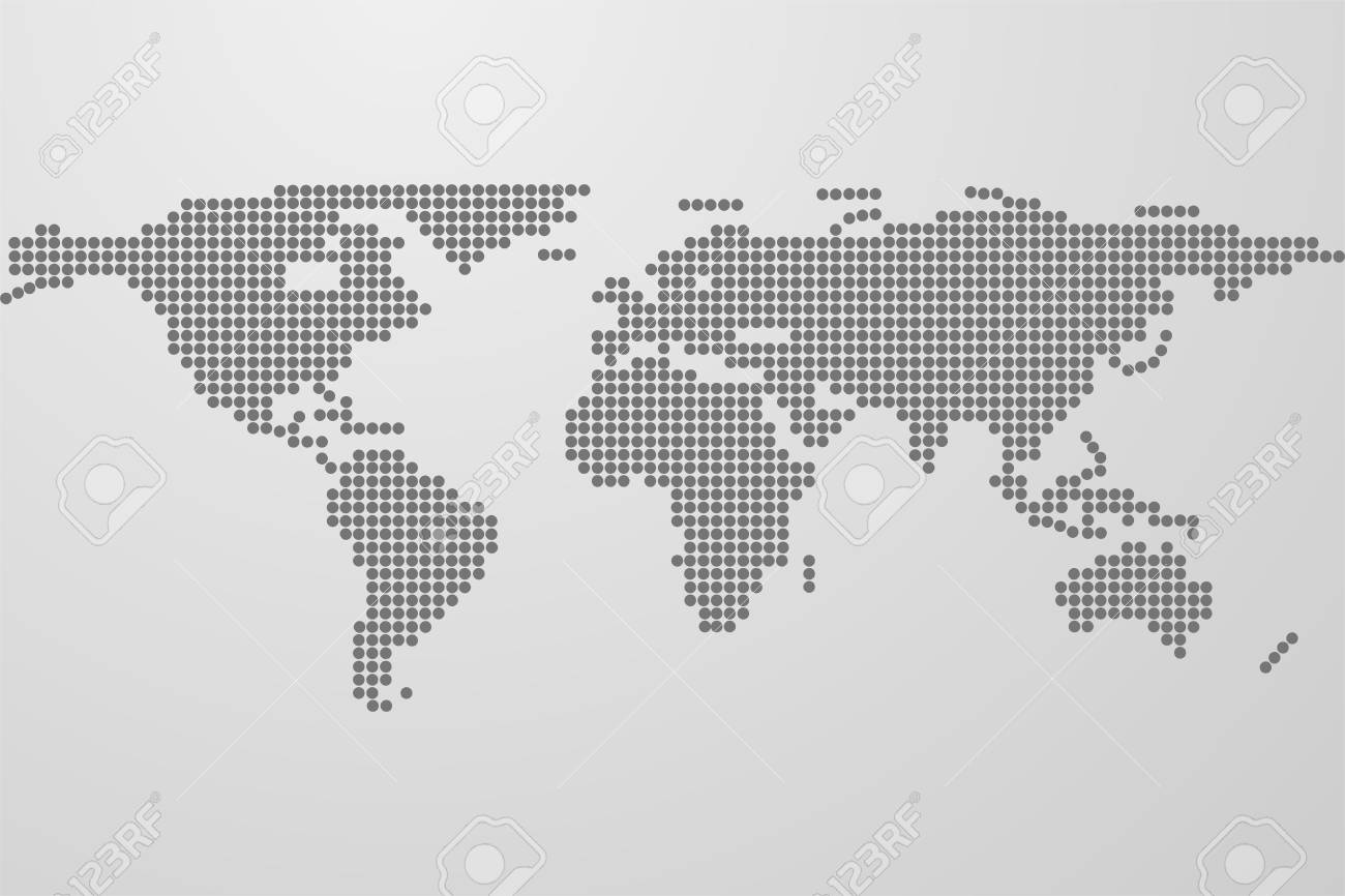 Dotted world map on gray gradient background world map from dotted world map on gray gradient background world map from black dots dots in gumiabroncs Image collections