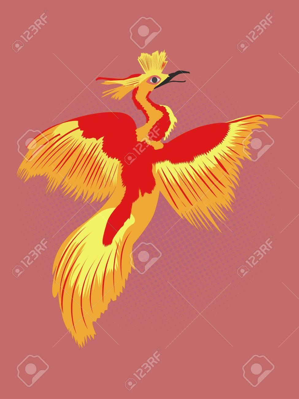 Reborn Phoenix Dessin Pop Art Feu Oiseau Dessin Avec Fond Noir Pointillé Rouge Cartoon Illustration Du Légendaire Phoenix