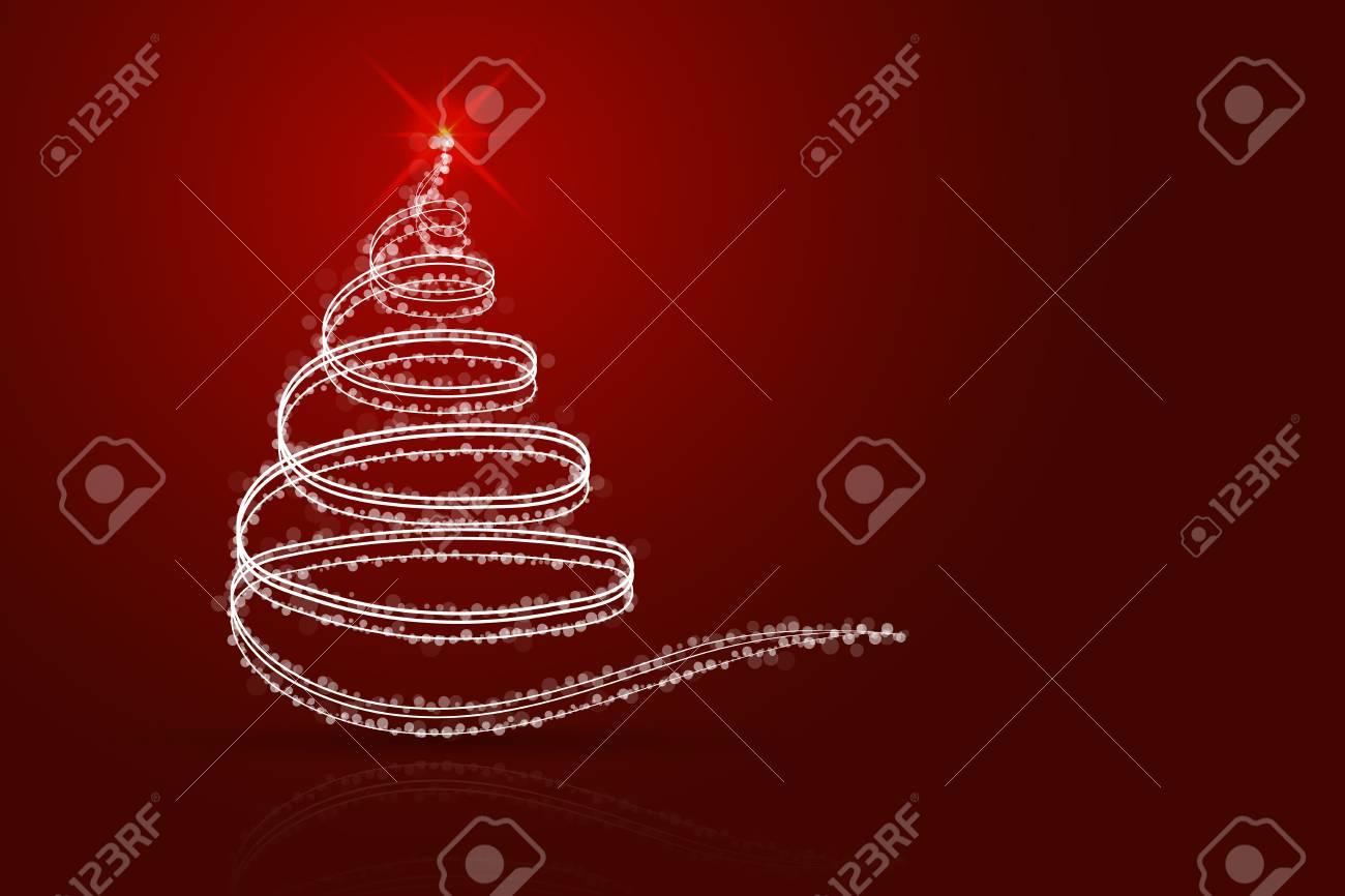 Abstrait de sapin de Noël rouge. Sapin de Noël blanc à partir de lignes,  d\'étincelles, de points et de cercles transparents sur fond dégradé rouge  ...