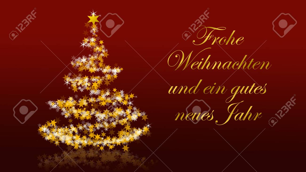 Christmas tree with glittering stars on red background with seasons christmas tree with glittering stars on red background with seasons greetings german version part m4hsunfo