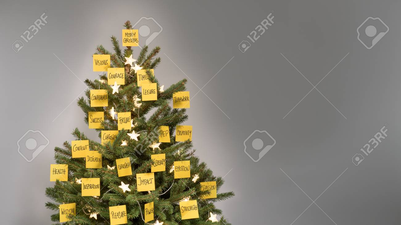 Christmas Business Decorations.Christmas Tree With Decorations Of 25 Yellow Notes With Business