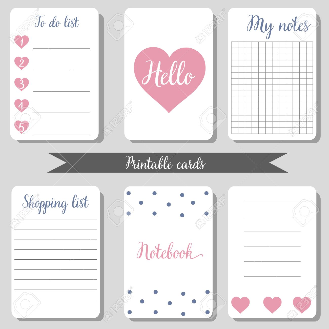 photo regarding Printable Notepad called Printable adorable style and design playing cards, buying listing, in direction of do listing, laptop computer,..