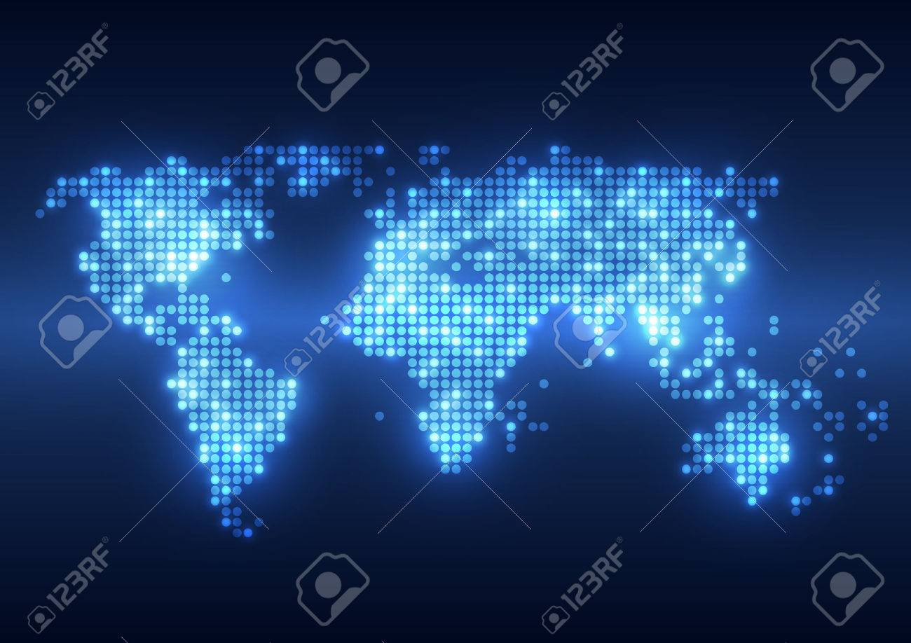 Abstract Technology Digital Backgrounds With Earth Map Royalty