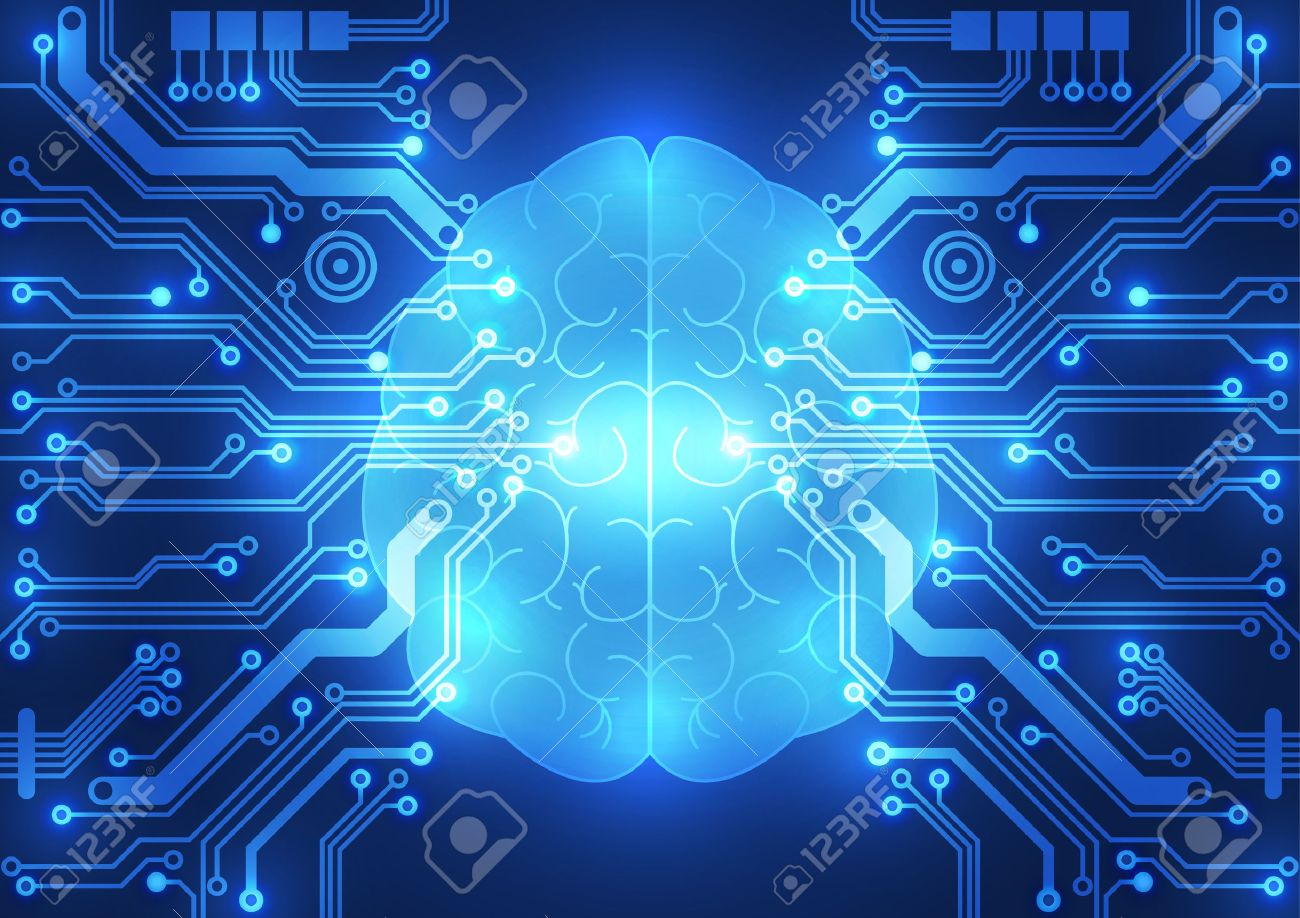 abstract electric circuit digital brain technology concept royalty