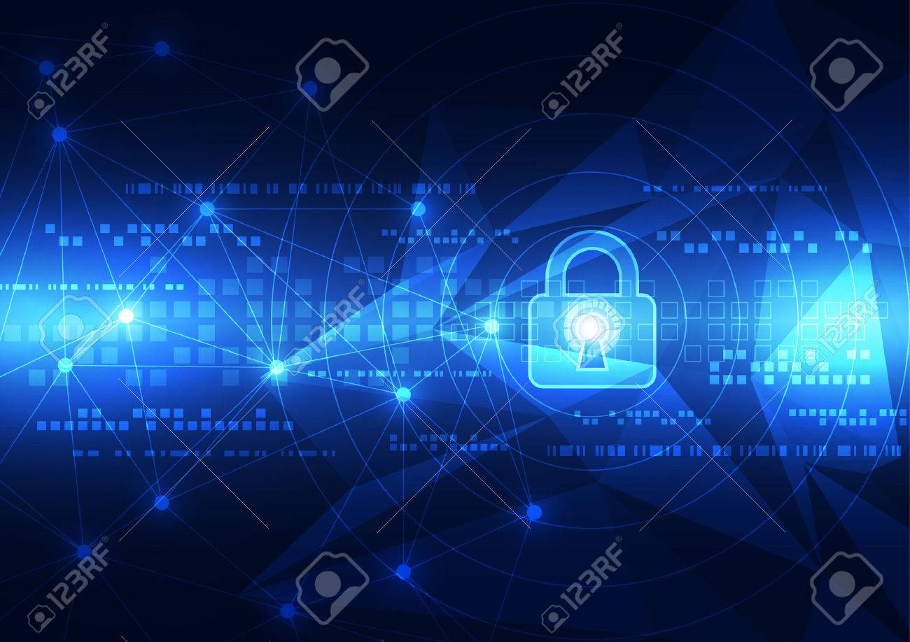 Abstract technology security on global network background, vector illustration - 43127141