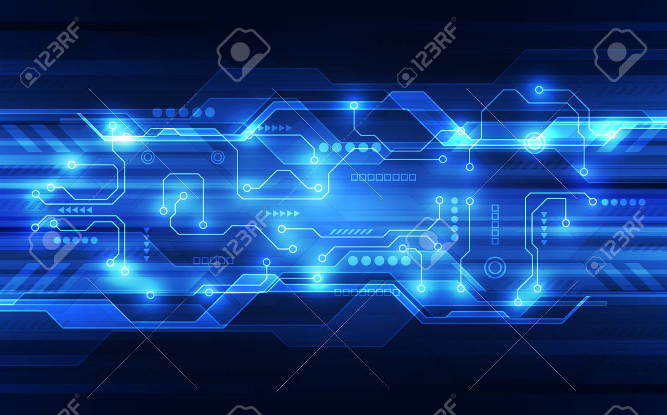 Vector abstract futuristic circuit board, high digital technology in blue. - 94252452