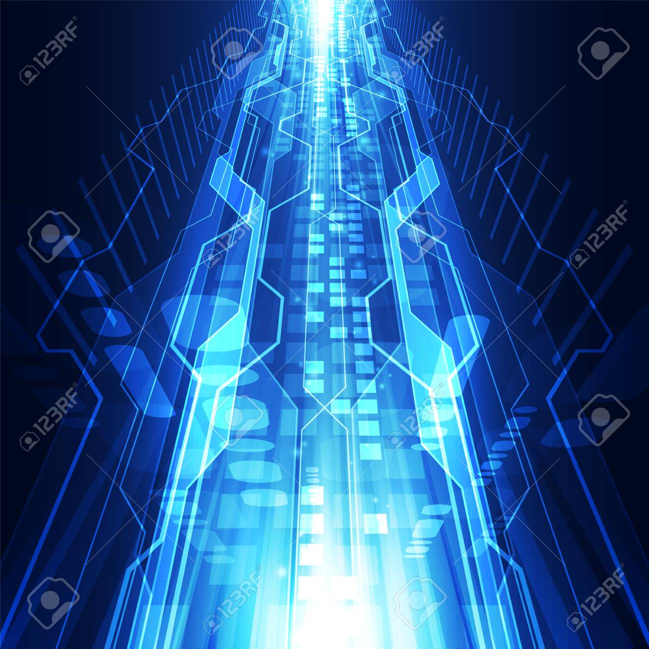 abstract vector futuristic blue connection high digital technology