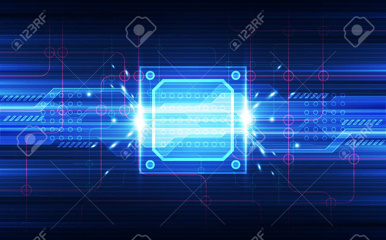Abstract Technology Background T Wireframe Globe On Circuit Board And Binary Code Chip Set Processor Html 3d Illustration Blue