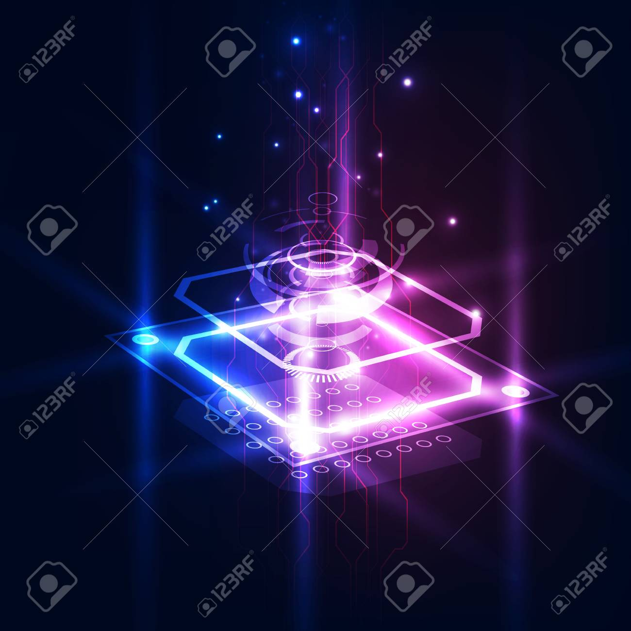 Abstract technology chip processor background circuit board and