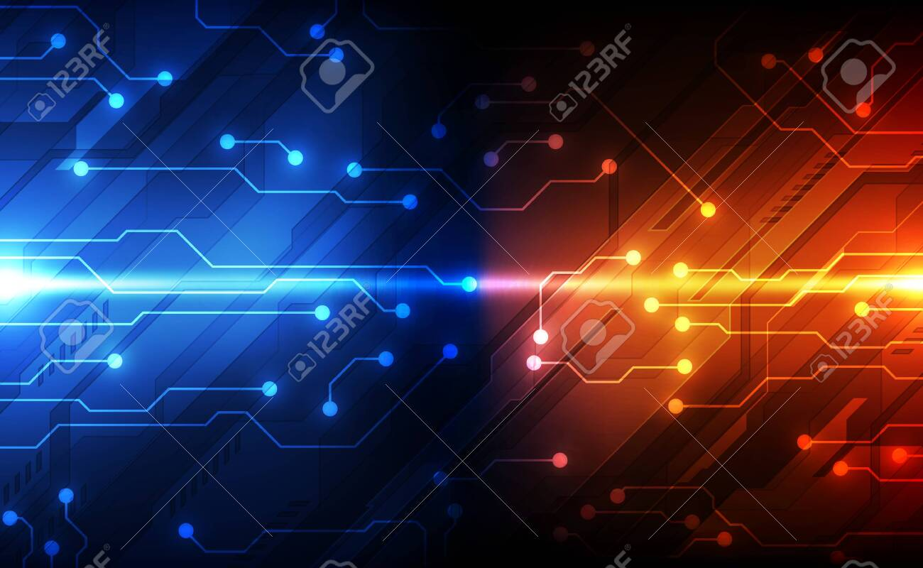 Digital circuit technology concept, abstract - 124303334
