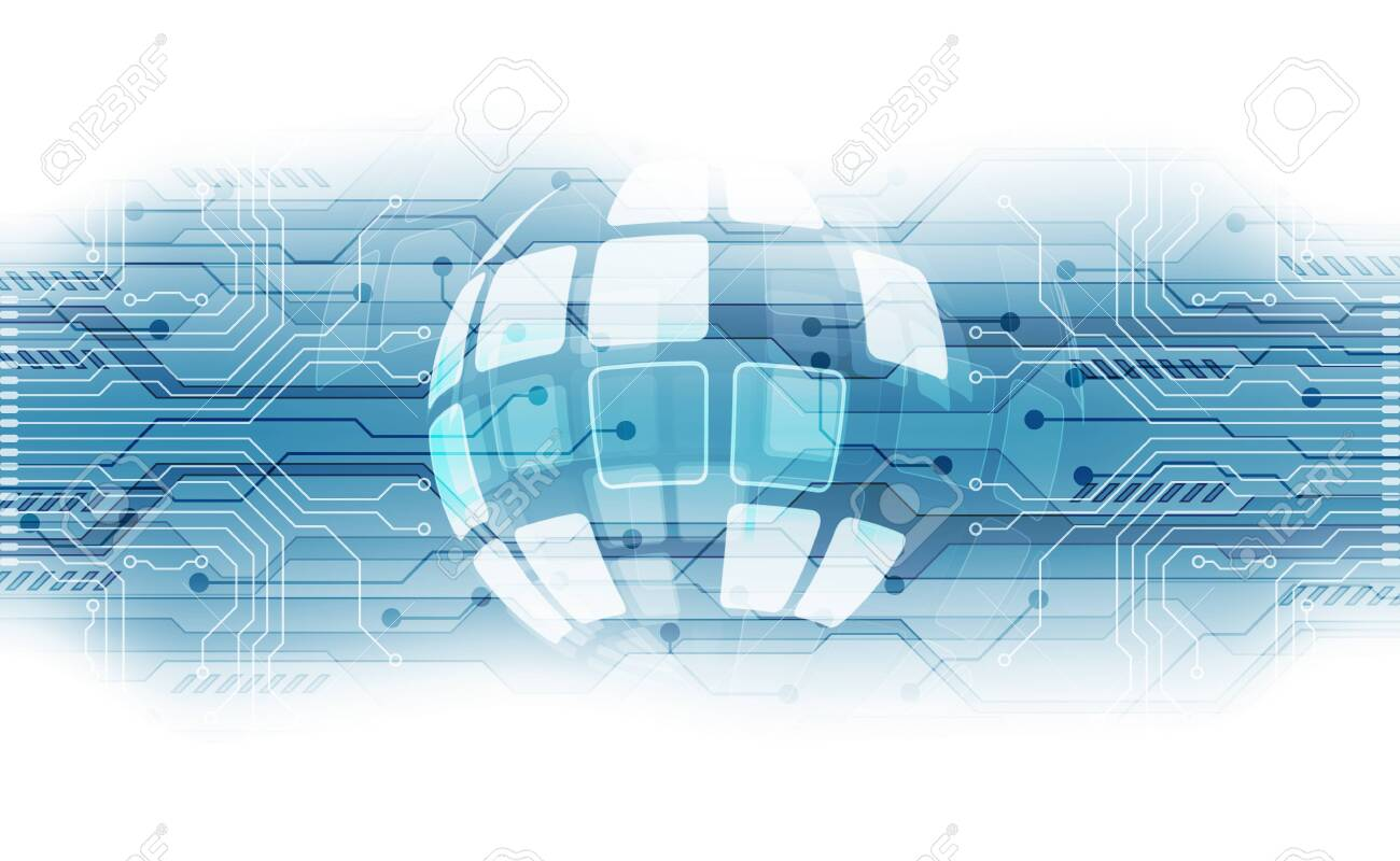 vector digital global technology concept, abstract background - 135110038