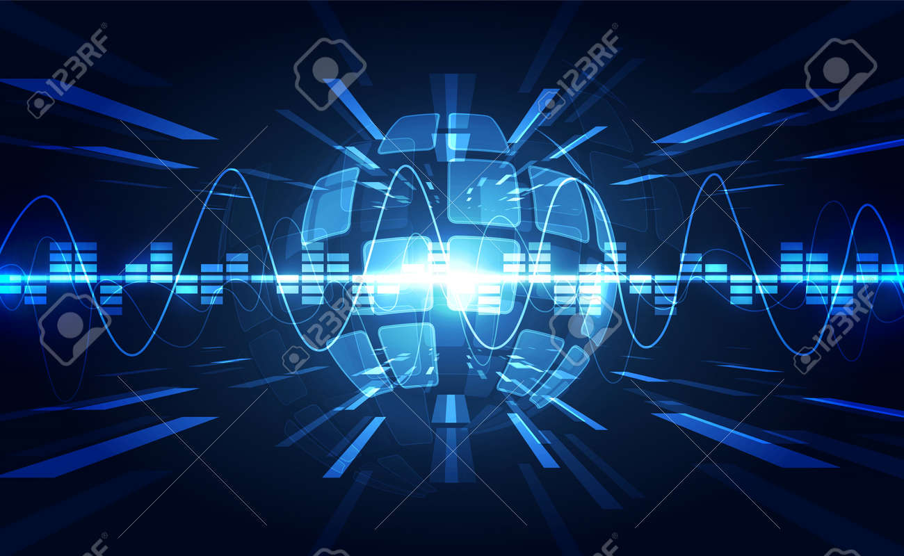 Vector Abstract futuristic circuit board global system, Illustration high digital technology blue color concept - 152138612