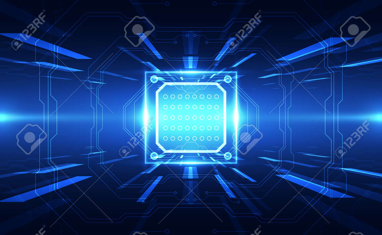 Abstract technology chip processor background circuit board and code, illustration blue technology background vector. - 153945179