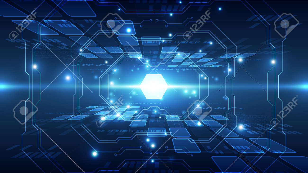 Abstract futuristic connection high speed digital technology concept. - 168282628