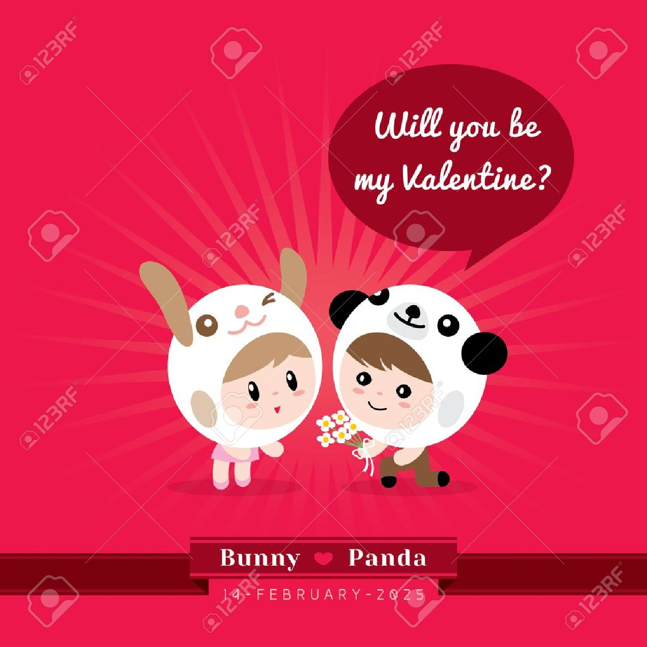 Cute Kawaii Couple Character In Rabbit And Panda Costume With Valentineu0027s  Concept Illustration Stock Vector