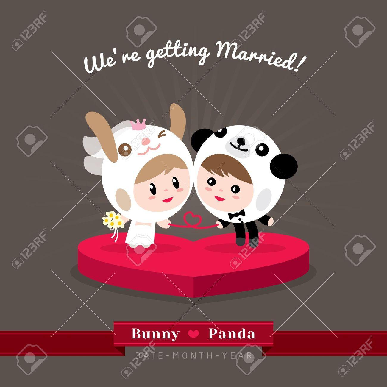 Cute kawaii groom and bride character in rabbit and panda helmet