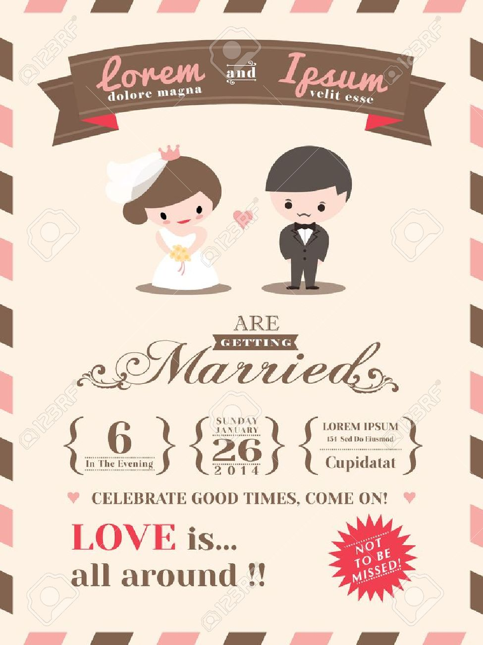 Wedding Invitation Card Template With Cute Groom And Bride Cartoon