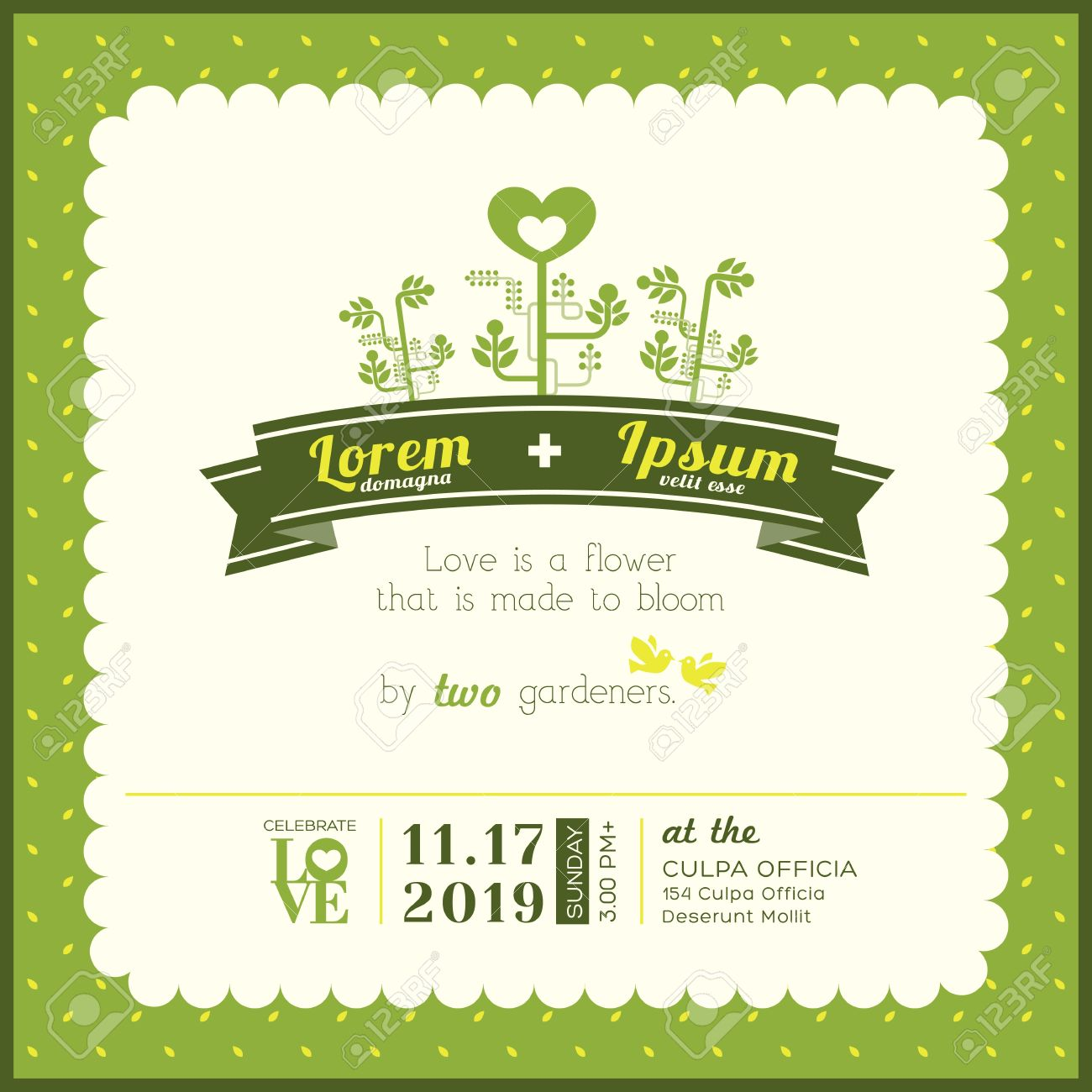 green garden theme wedding invitation card template royalty free