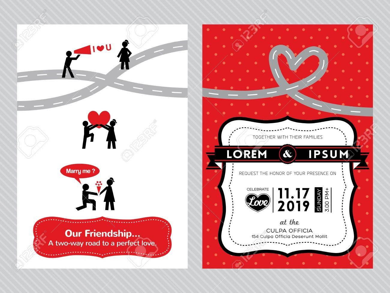 Wedding Invitation Card Template With Cute Groom And Bride Cartoon ...