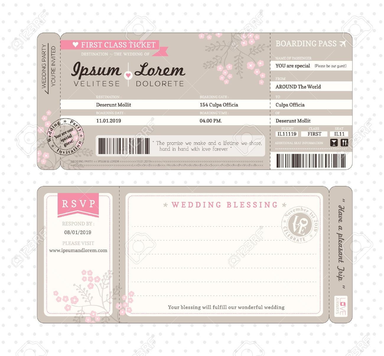 Boarding Pass Ticket Wedding Invitation Template Royalty Free ...
