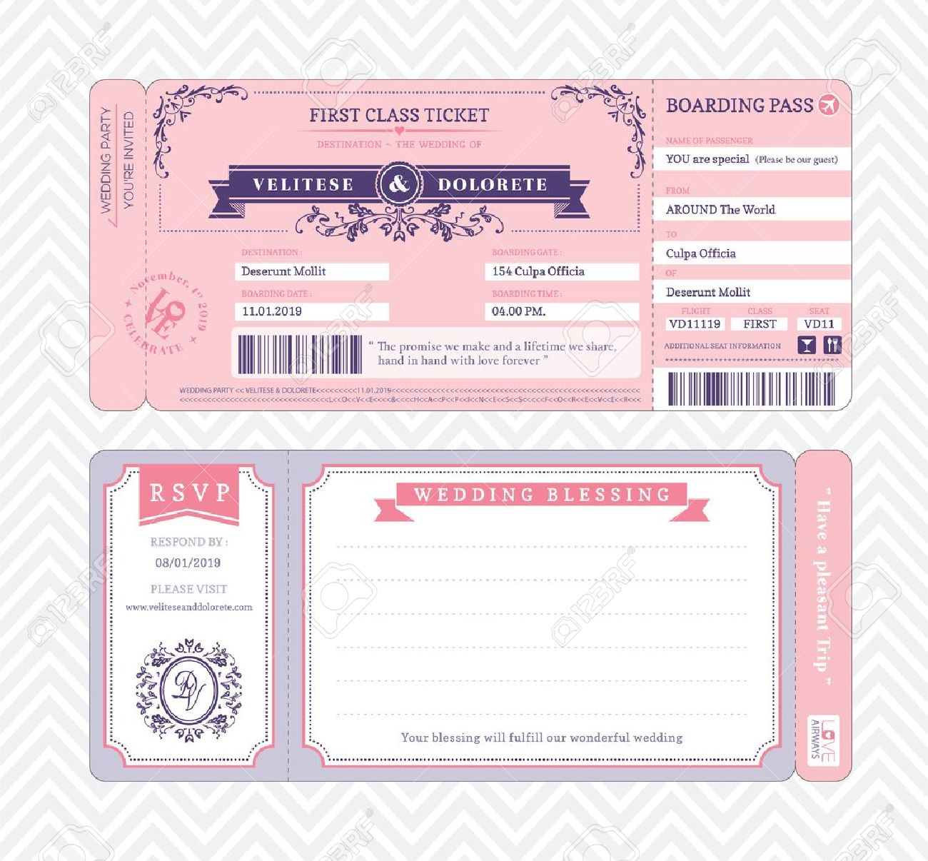 Boarding Pass Ticket Wedding Invitation Template Royalty Free - Wedding invitation templates: wedding invitation downloadable templates