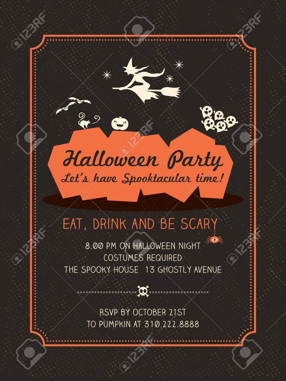 Halloween Party Invitation Template For Card-Poster-Flyer Royalty ...