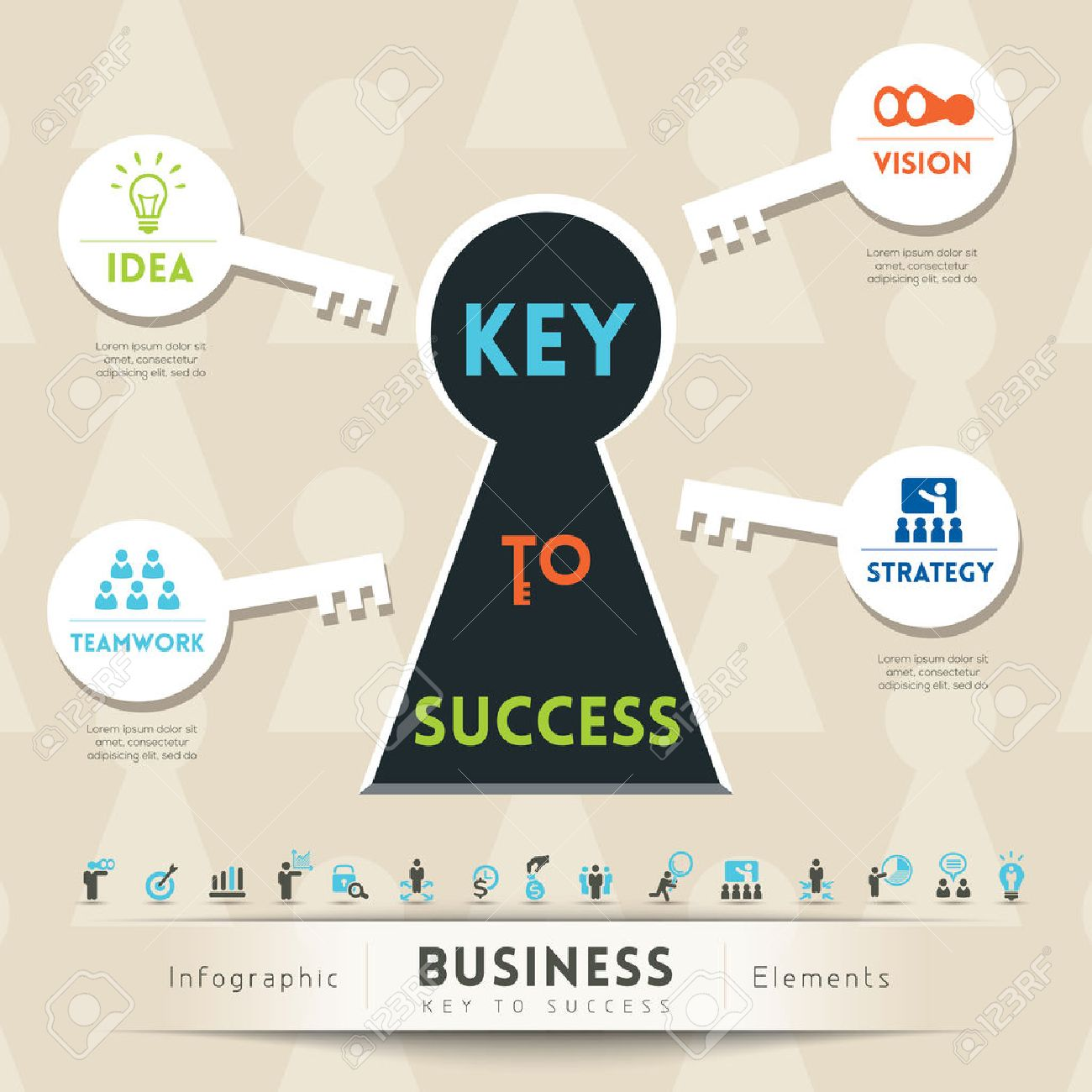 Key to success in business keyhole conceptual illustration with key to success in business keyhole conceptual illustration with icons stock vector 22527298 ccuart Gallery
