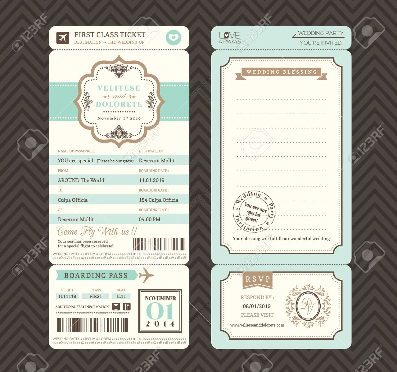 Vector   Vintage Style Boarding Pass Ticket Wedding Invitation Template  Vector