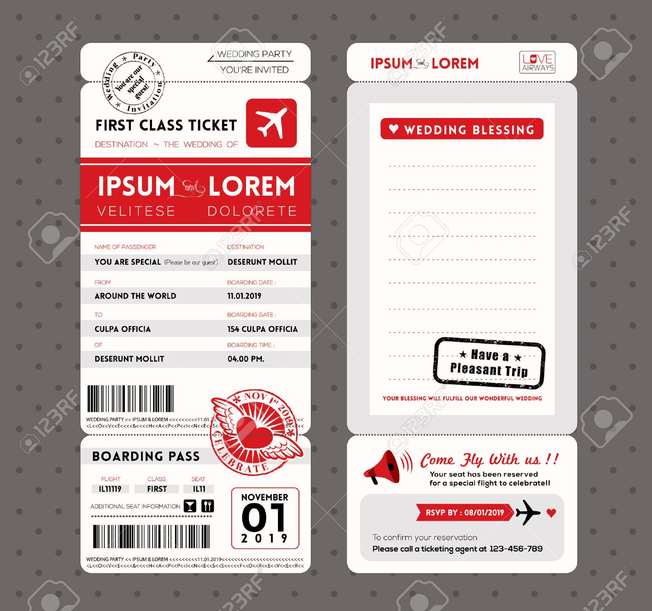 Modern boarding pass ticket wedding invitation graphic design modern boarding pass ticket wedding invitation graphic design vector template stock vector 23654639 stopboris Gallery