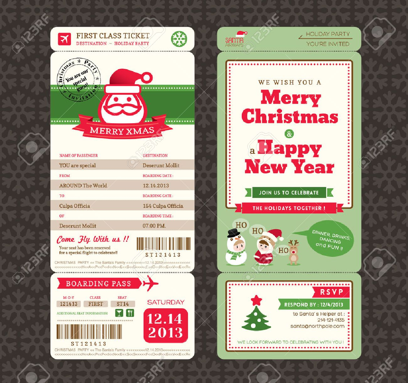 Christmas Card Design Boarding Pass Ticket Template Royalty Free – Design Tickets Template