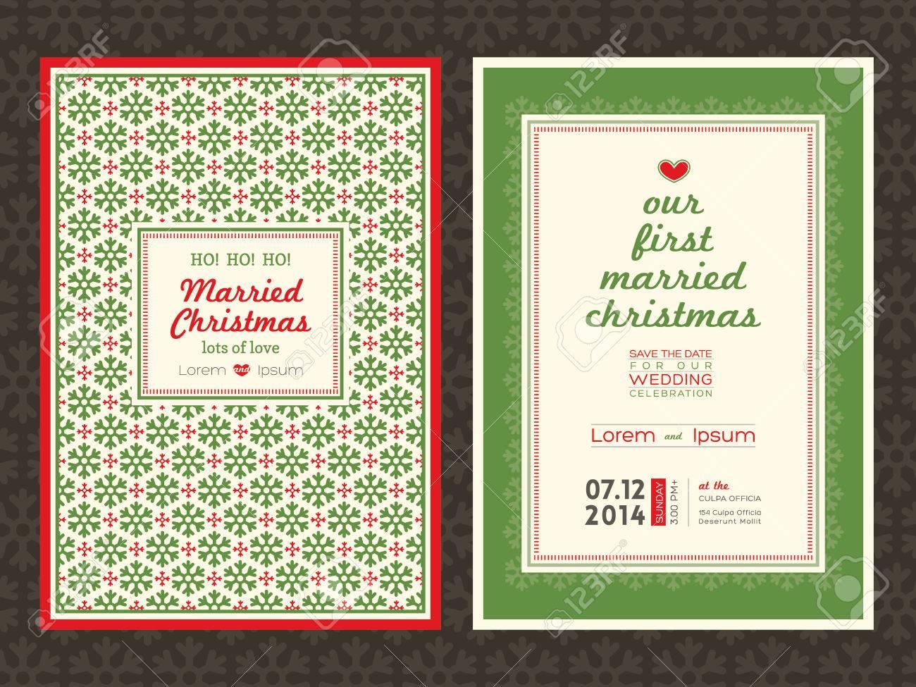 Christmas Theme Wedding Invitation Card Template Royalty Free