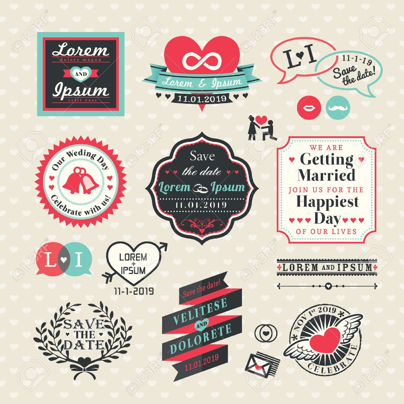 Wedding Elements labels and frames Vintage Style Stock Vector - 24523479