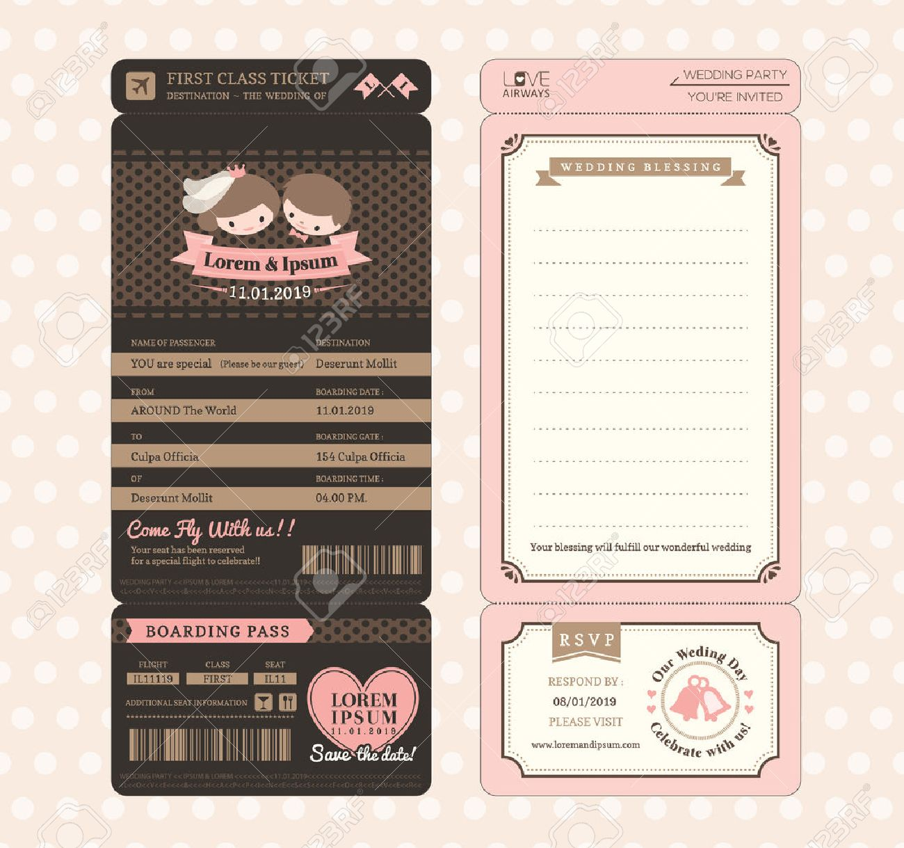 Cute groom and bride vintage boarding pass ticket wedding cute groom and bride vintage boarding pass ticket wedding invitation design template vector stock vector stopboris Image collections