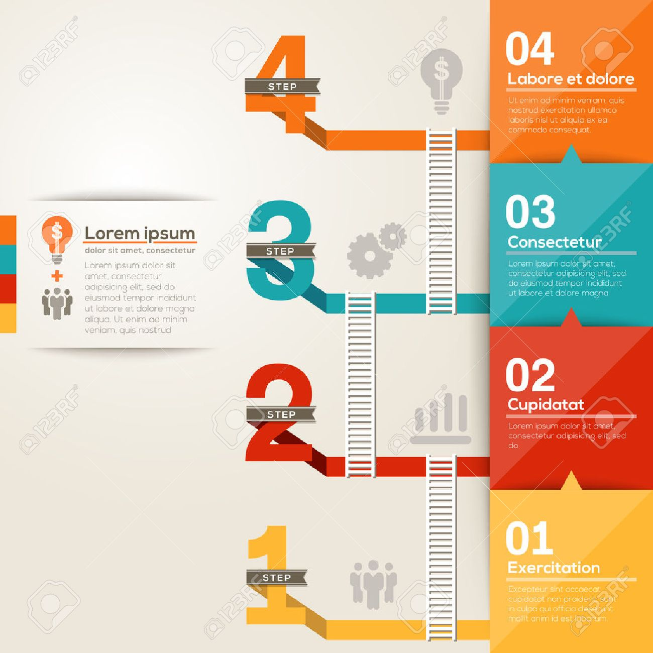 Number 1234 step to success ladder with flat design layout Stock Vector -  24800800