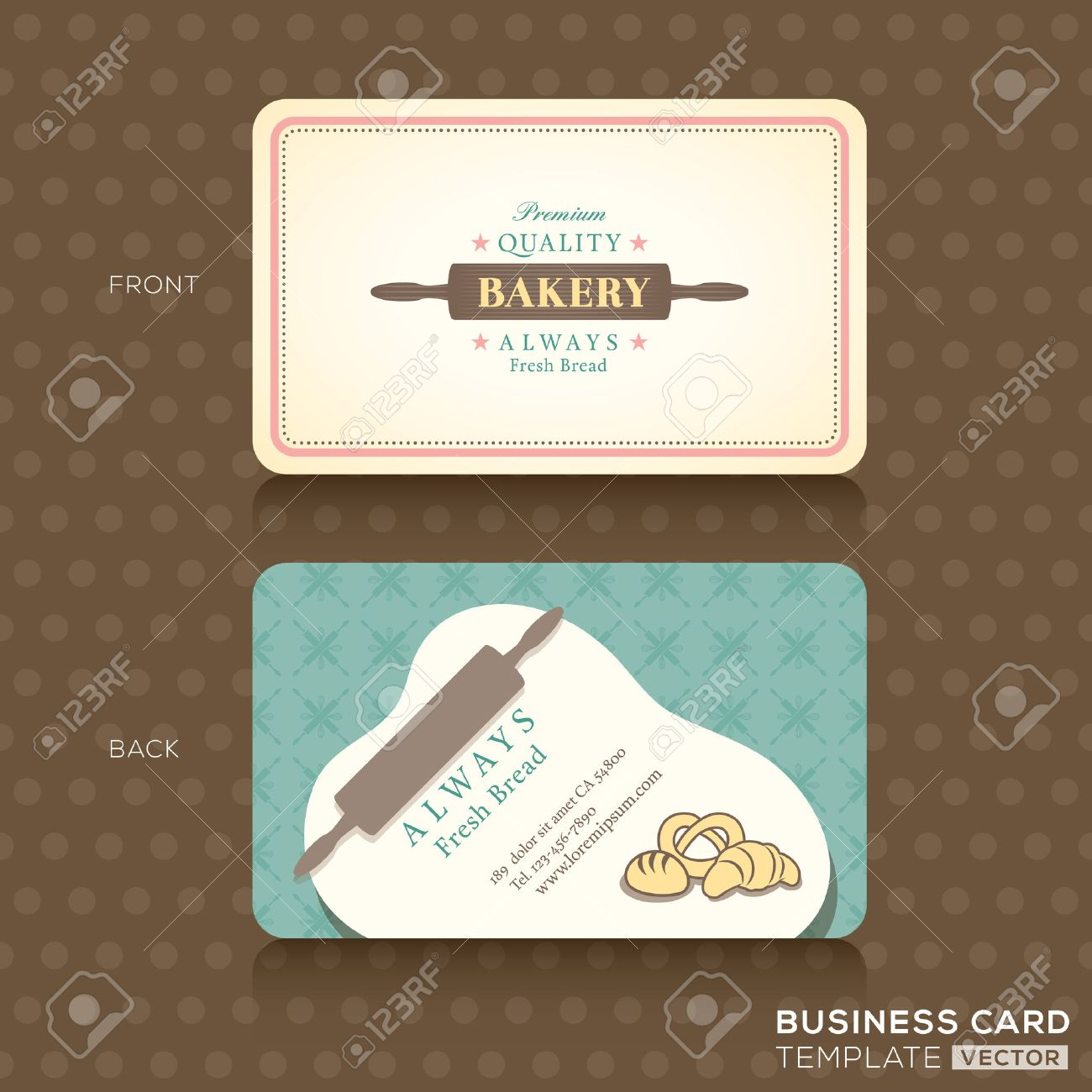 Bakery shop with rolling pin business card design template royalty bakery shop with rolling pin business card design template stock vector 25189844 reheart Gallery