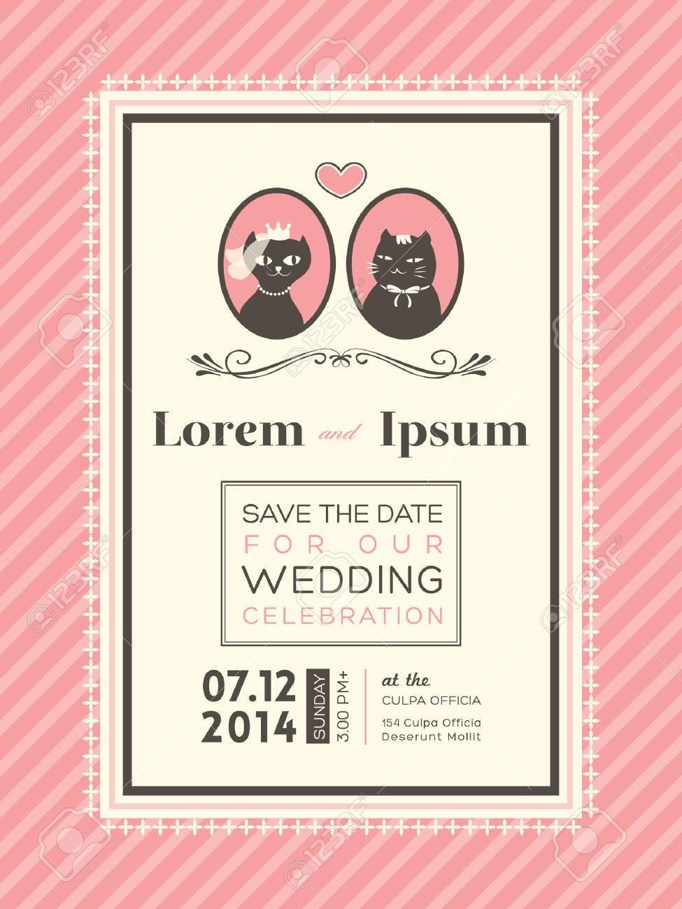 Cute Wedding Invitation Design Frame Template Royalty Free ...