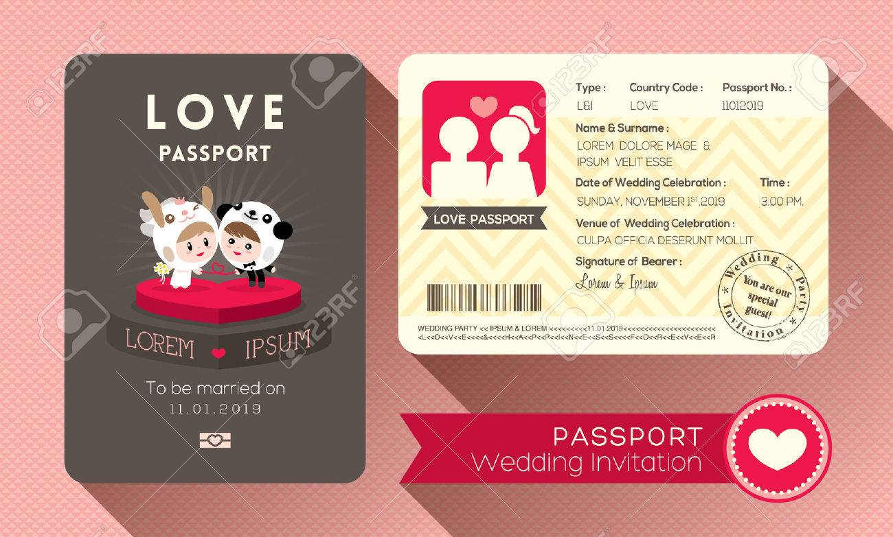 Cartoon Passport Wedding Invitation Card Design Template Royalty ...