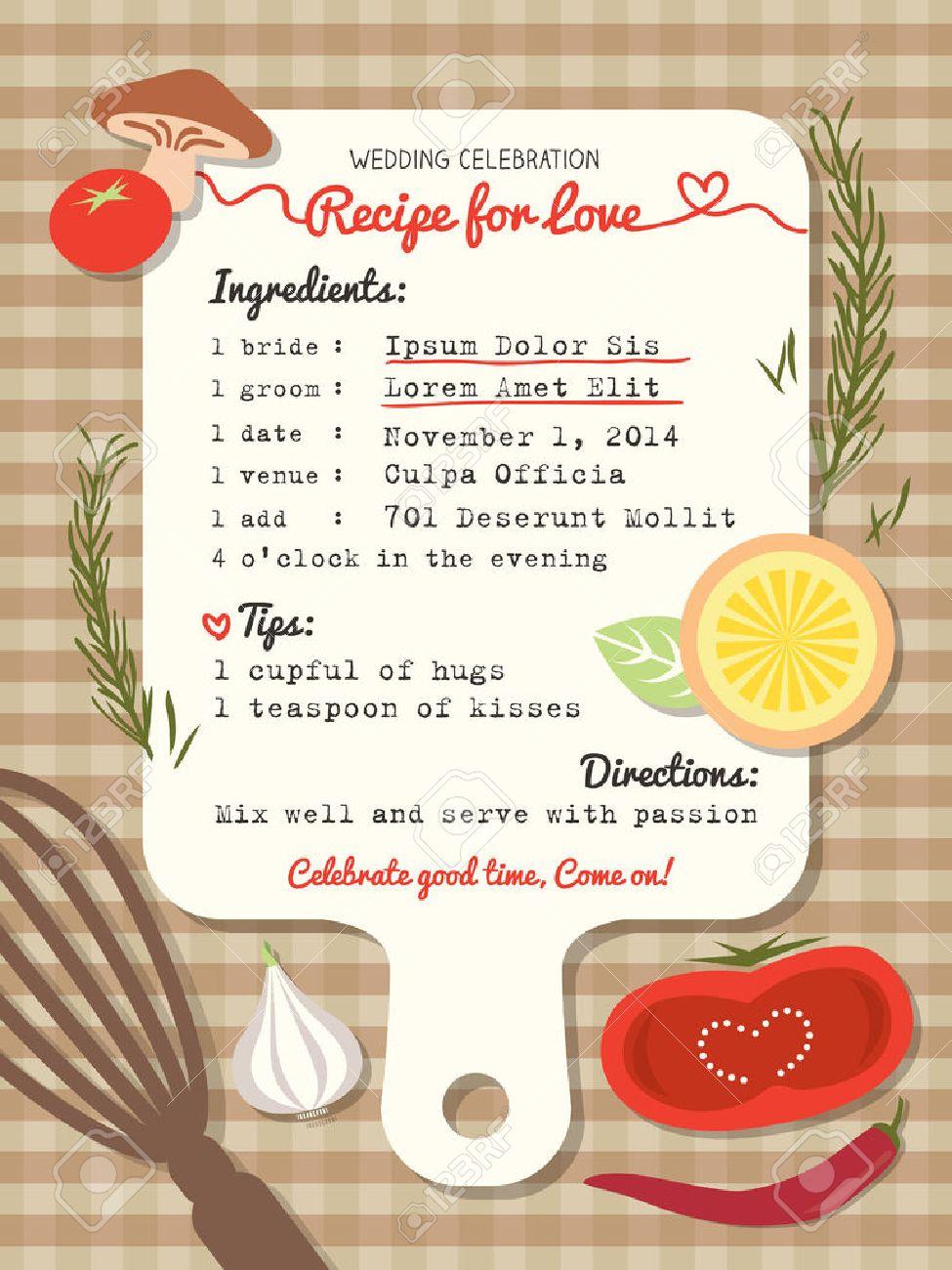 Rezeptkarte Kreative Hochzeit Einladung Design Mit Koch Konzept Lizenzfreie  Bilder   28069661