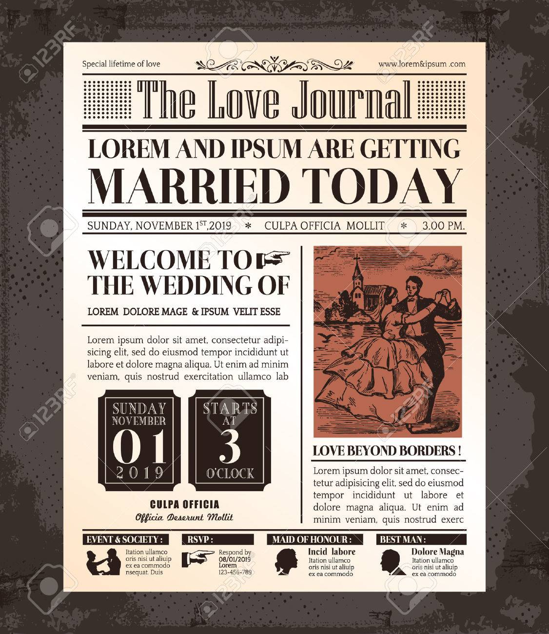 Vintage Newspaper Journal Wedding Invitation Vector Design Template ...