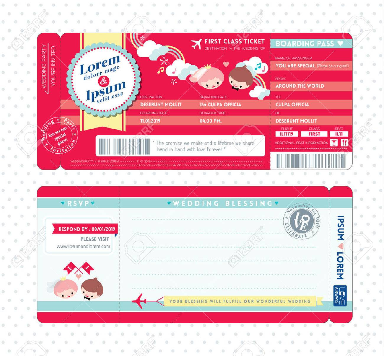 Cute Boarding Pass Ticket Wedding Invitation Template Royalty Free – Free Pass Template